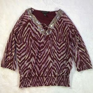 INC International Concepts Red Blouse w/ Sequins M